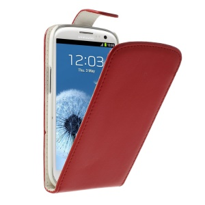 Magnetic Vertical Flip Leather Cover for Samsung Galaxy S III I9300 - Red