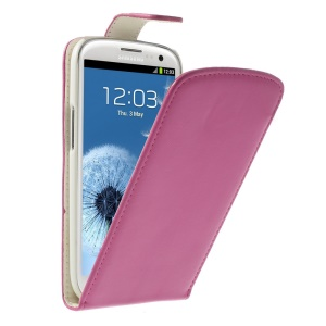 Vertical Flip Leather Shield Cover for Samsung Galaxy S III I9300 - Rose
