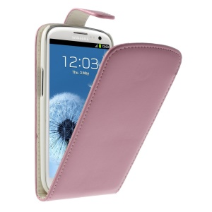 Vertical Flip Leather Phone Cover for Samsung Galaxy S III I9300 - Pink