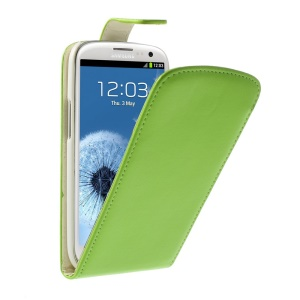 Vertical Leather Flip Protective Case for Samsung Galaxy S3 I9300 - Green
