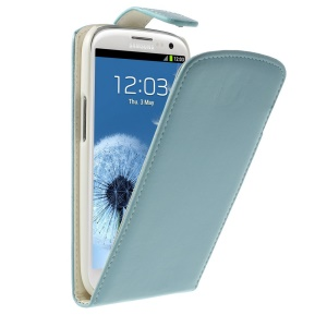 For Samsung Galaxy S3 I9300 Vertical Leather Flip Protector Case - Baby Blue