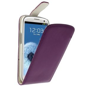 For Samsung I9300 Galaxy S III Vertical Flip Leather Shell Cover - Purple