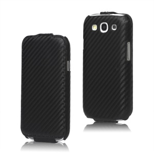 Carbon Fiber Leather Flip Case for Samsung Galaxy S 3 / III I9300 I747 L710 T999 I535 R530