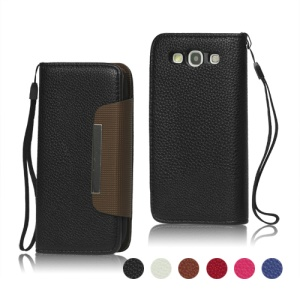 Lychee Leather Wallet Case for Samsung Galaxy S 3 / III I9300 I747 L710 T999 I535 R530