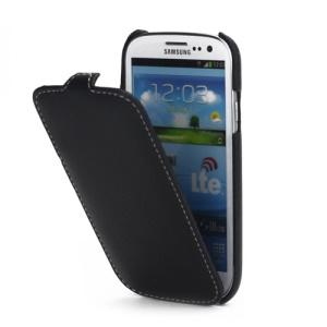 Luxury Melkco Vertical Style Leather Cover for Samsung Galaxy S 3 / III I9300 - Black