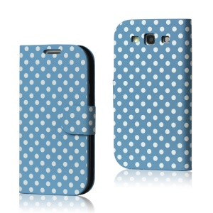 Polka Dot Leather Wallet Case for Samsung Galaxy S 3 / III I9300 I747 L710 T999 I535 R530 - Light Blue
