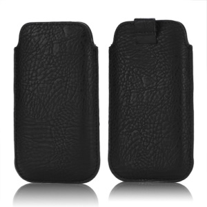 Stylish Leather Sleeve Pouch for Samsung Galaxy S3 III i9300 S4 i9500 i9250 LG E960 HTC 8X - Black