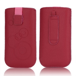 Circles Leahter Pouch Case with Pull Tab for Samsung Galaxy S3 III i9300 S4 i9500 i9250 LG E960 - Red