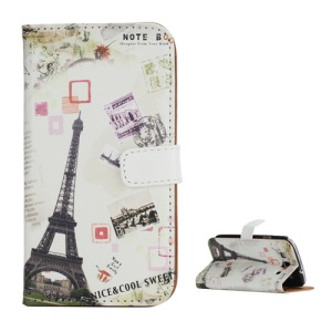 Eiffel Tower Postcard Design Card Holder Leather Stand Case for Samsung Galaxy S 3 / III I9300