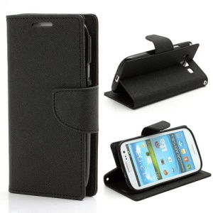 Mercury Fancy Diary Wallet Style Leather Stand Case for Samsung Galaxy S3 / III I9300 - Black