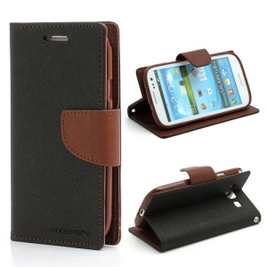 Mercury Fancy Diary Wallet Style Leather Stand Case for Samsung Galaxy S3 / III I9300 - Coffee / Black