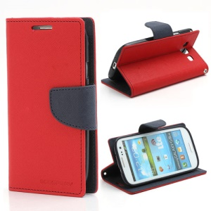 Mercury Fancy Diary Wallet Style Leather Stand Case for Samsung Galaxy S3 / III I9300 - Dark Blue / Red