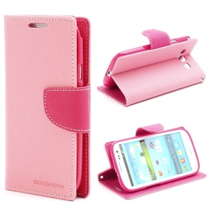 Mercury Fancy Diary Wallet Style Leather Stand Case for Samsung Galaxy S3 / III I9300 - Rose / Pink