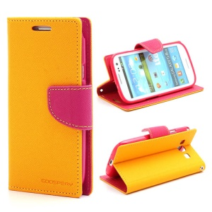 Mercury Fancy Diary Wallet Style Leather Stand Case for Samsung Galaxy S3 / III I9300 - Rose / Yellow
