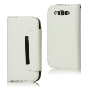 Carbon Fiber Leather Wallet for Samsung Galaxy S 3 / III I9300 I747 L710 T999 I535 R530 - White