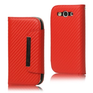 Carbon Fiber Leather Wallet for Samsung Galaxy S 3 / III I9300 I747 L710 T999 I535 R530 - Red