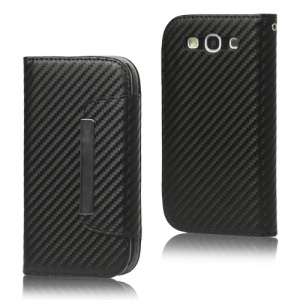 Carbon Fiber Leather Wallet for Samsung Galaxy S 3 / III I9300 I747 L710 T999 I535 R530 - Black