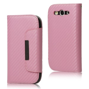 Carbon Fiber Leather Wallet for Samsung Galaxy S 3 / III I9300 I747 L710 T999 I535 R530 - Pink