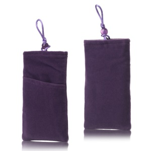 Plush Pouch Bag for Samsung Galaxy S 3 III i9300 S 4 IV i9500 i9505 Bead Button Closure - Purple