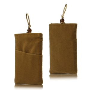 Plush Pouch Bag for Samsung Galaxy S 3 III i9300 S 4 IV i9500 i9505 Bead Button Closure - Brown
