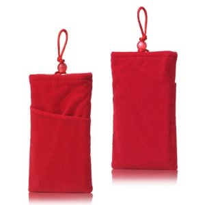 Plush Pouch Bag for Samsung Galaxy S 3 III i9300 S 4 IV i9500 i9505 Bead Button Closure - Red