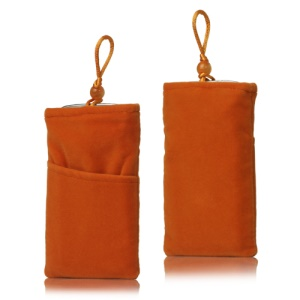 Plush Pouch Bag for Samsung Galaxy S 3 III i9300 S 4 IV i9500 i9505 Bead Button Closure - Orange