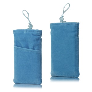 Plush Pouch Bag for Samsung Galaxy S 3 III i9300 S 4 IV i9500 i9505 Bead Button Closure - Light Blue