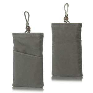 Plush Pouch Bag for Samsung Galaxy S 3 III i9300 S 4 IV i9500 i9505 Bead Button Closure - Grey