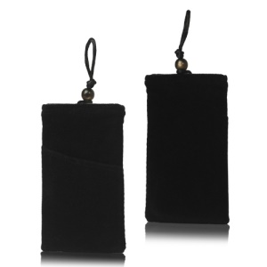 Plush Pouch Bag for Samsung Galaxy S 3 III i9300 S 4 IV i9500 i9505 Bead Button Closure - Black