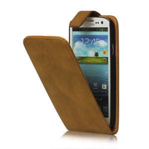 Antique Leather Flip Case for Samsung Galaxy S 3 / III I9300 I747 L710 T999 I535 R530 - Brown Beige