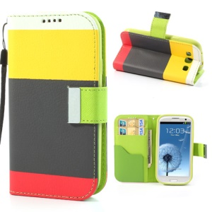 Multicolor for Samsung I9300 Galaxy S3 Leather Wallet Stand Case - Yellow / Black / Red