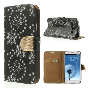 Black Glitter Powder Flower & Butterfly Diamond Inlaid Wallet Leather Cover for Samsung Galaxy S 3 I9300