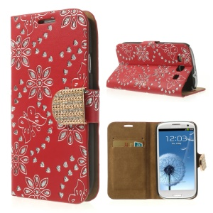 Red Glitter Powder Flower & Butterfly Diamond Inlaid Wallet Leather Cover for Samsung Galaxy S 3 I9300
