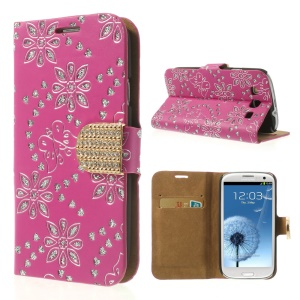 Rose Glitter Powder Flower & Butterfly Diamond Inlaid Wallet Leather Case for Samsung Galaxy S 3 I9300
