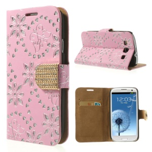 Pink Glitter Powder Flower & Butterfly Diamond Inlaid Wallet Leather Case for Samsung Galaxy SIII I9300
