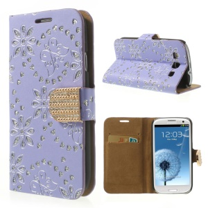 Purple for Samsung Galaxy SIII I9300 Glitter Powder Flower & Butterfly Diamond Inlaid Wallet Leather Case