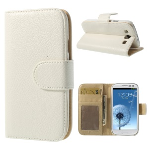 Litchi Texture Leather Card Holder Shell w/ Stand for Samsung Galaxy S3 I9300 - White