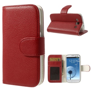 Litchi Texture Leather Stand Case w/ Card Slots for Samsung Galaxy S3 I9300 - Red