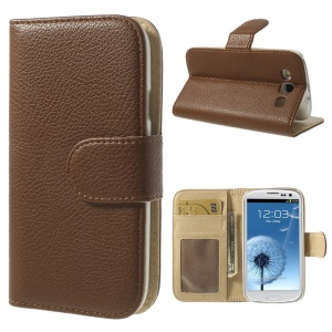 Litchi Texture Flip Leather Wallet Stand Cover for Samsung Galaxy S3 I9300 - Brown