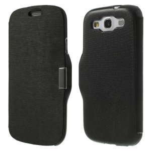 Horizontal Brushed Magnetic Flip Leather Case for Samsung Galaxy S3 I9300 - Black