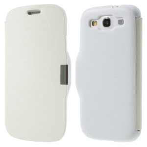 Horizontal Brushed Magnetic Flip Leather Shell for Samsung Galaxy S3 I9300 - White
