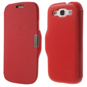 Horizontal Brushed Flip PU Leather + PC Case for Samsung Galaxy S3 I9300 - Red