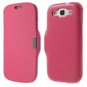 Horizontal Brushed Flip PU Leather + PC Cover for Samsung Galaxy S3 I9300 - Rose