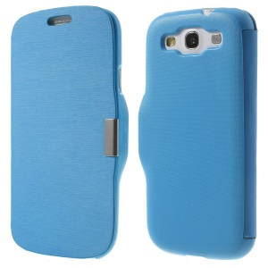 Horizontal Brushed PU Leather Front + PC Back Cover for Samsung Galaxy S3 I9300 - Blue