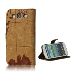 World Map Leather Stand Case for Samsung Galaxy S 3 / III I9300 I747 L710 T999 I535 R530 - Brown
