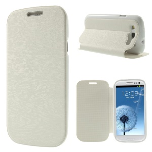 Tree Bark Texture TPU Inner Leather Stand Case for Samsung Galaxy S3 I9300 - White