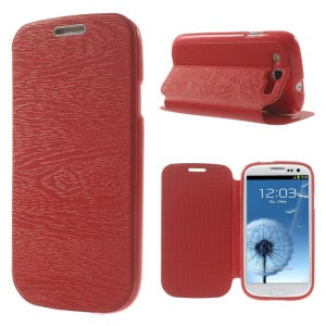 Tree Bark Texture TPU Inner Leather Stand Case for Samsung Galaxy S3 I9300 - Red