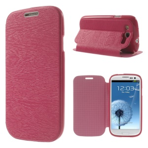Tree Bark Texture TPU Inner Leather Stand Case for Samsung Galaxy S3 I9300 - Rose