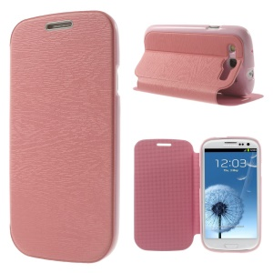 Tree Bark Texture TPU Inner Leather Stand Cover for Samsung Galaxy S 3 I9300 - Pink