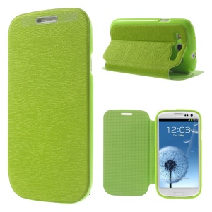 Tree Bark Texture TPU Inner Leather Stand Cover for Samsung Galaxy S 3 I9300 - Green